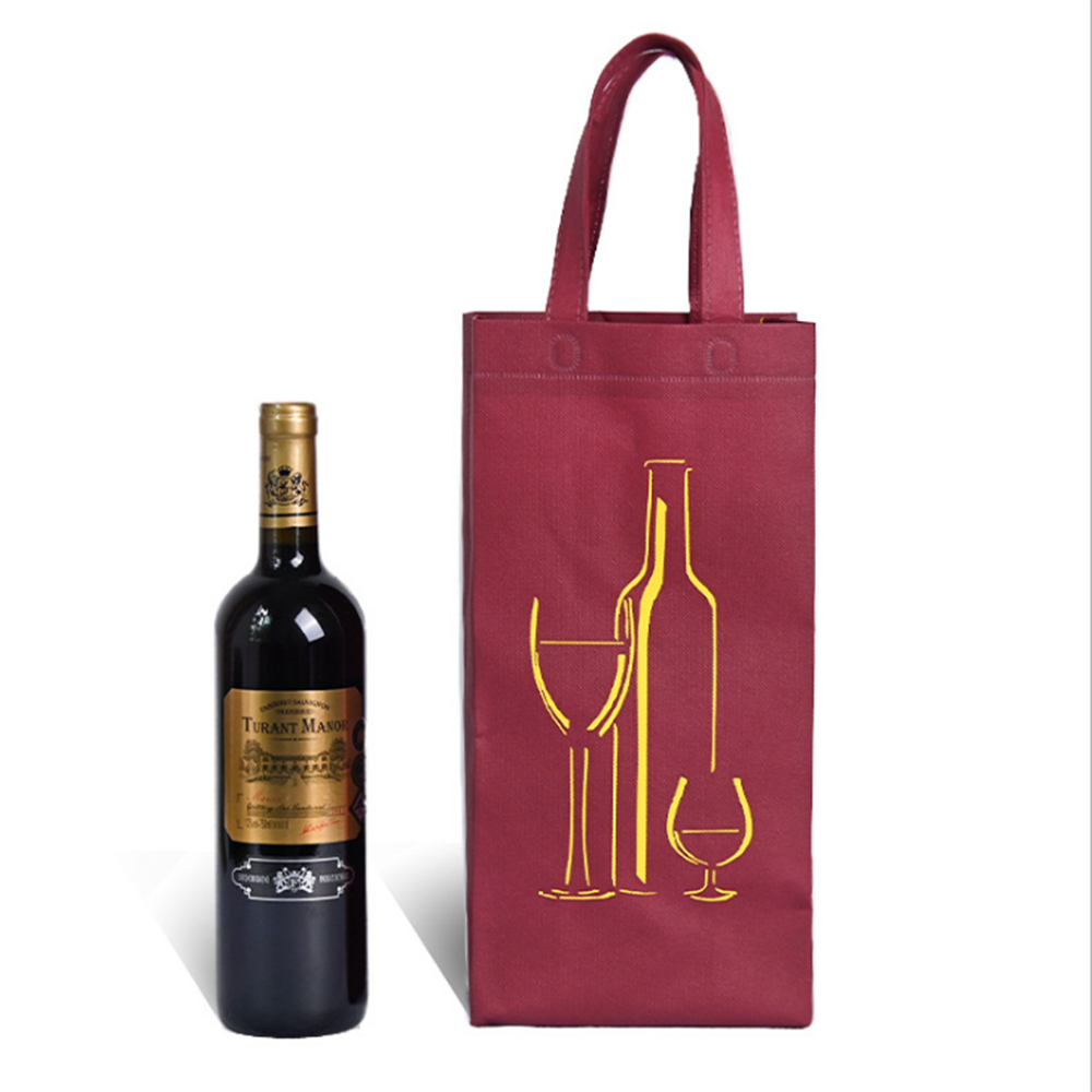 Red wine portable gift non woven bag
